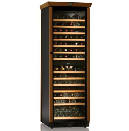 Vinkyl för 168 flaskor, dual, med trädetaljer,