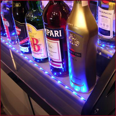 Flaskhylla med LED-belysning